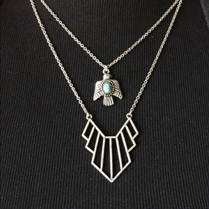 Boho / Tribal Double Silver Thunderbird Necklace.